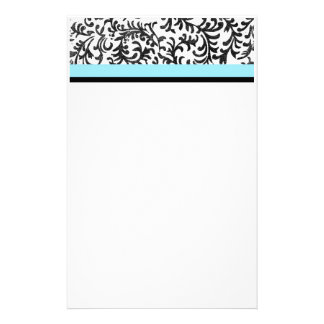 Turquoise and Black Floral Pattern Stationery Paper