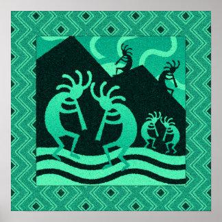 Turquoise And Black Kokopelli Southwest Wall Art