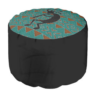 Turquoise And Black Kokopelli Southwestern Design Pouf