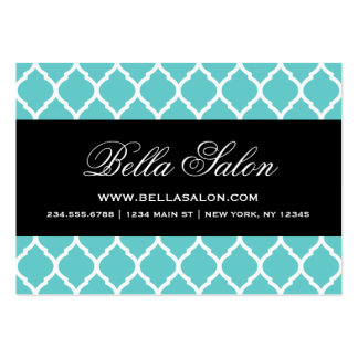 Turquoise and Black Modern Moroccan Lattice Pack Of Chubby Business Cards