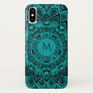 Turquoise and Black Monogram Mandala iPhone X Case