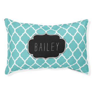 Turquoise and Black Moroccan Quatrefoil Monogram
