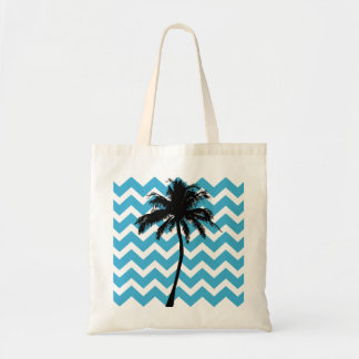 Turquoise and Black Palm Tree Tote Bag