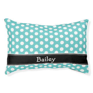 Turquoise and Black Polka Dots Monogram Pet Bed