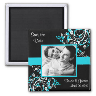 Turquoise and Black Save the Date photo Magnets