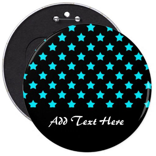 Turquoise and Black Star Pattern Buttons