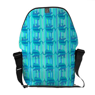 Turquoise and Blue Elephant Pattern on Stripes Courier Bag