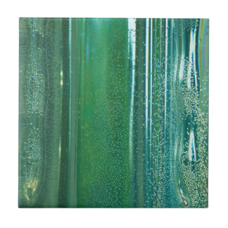Turquoise and Blue Reflections in the Glass Small Square Tile