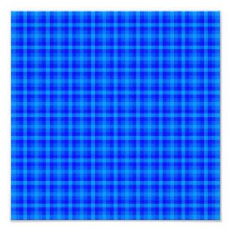 Turquoise and Blue Retro Chequered Pattern Art Photo