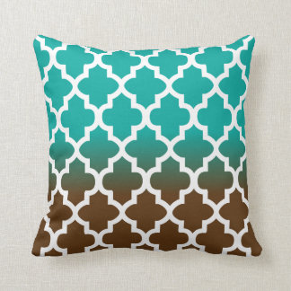 Turquoise and Brown Blend Quatrefoil Pattern Cushion