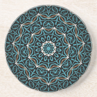 turquoise and brown coaster
