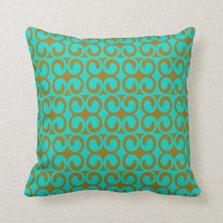 Turquoise and Brown Elegant Pattern Cushion