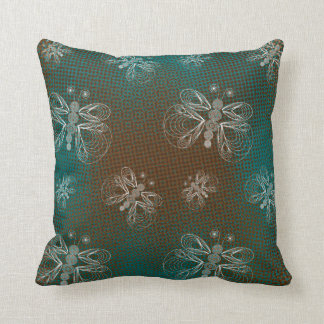 Turquoise and brown retro butterfly pattern throw pillow