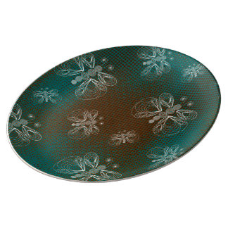 Turquoise and brown vintage butterfly porcelain plate