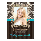Turquoise and Brown Vintage Damask Sweet Sixteen Card
