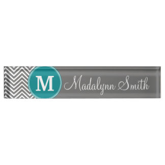 Turquoise and Charcoal Chevrons Custom Monogram Nameplate
