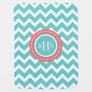 Turquoise and Coral Chevron Monogram Baby Blanket