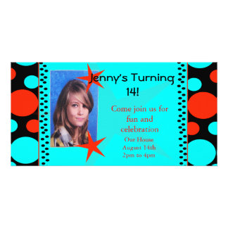 Turquoise and Coral Polka Dots Photo Card