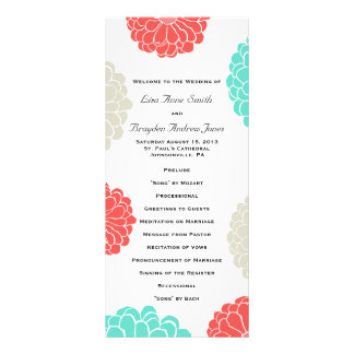 Turquoise and Coral Zinnia Flower Wedding Program Rack Card