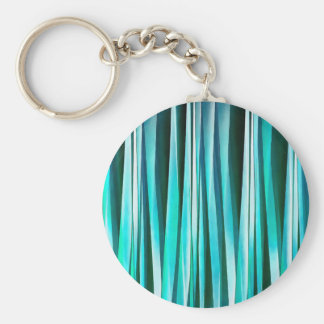 Turquoise and Cyan Ocean Stripy Lines Pattern Key Ring