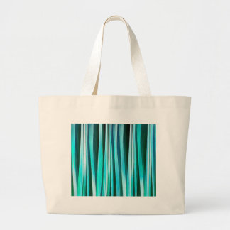 Turquoise and Cyan Ocean Stripy Lines Pattern Large Tote Bag
