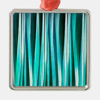 Turquoise and Cyan Ocean Stripy Lines Pattern Metal Ornament