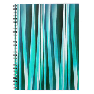 Turquoise and Cyan Ocean Stripy Lines Pattern Notebooks