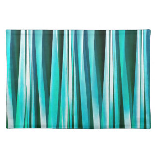 Turquoise and Cyan Ocean Stripy Lines Pattern Placemat