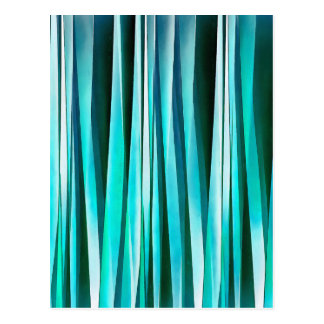 Turquoise and Cyan Ocean Stripy Lines Pattern Postcard