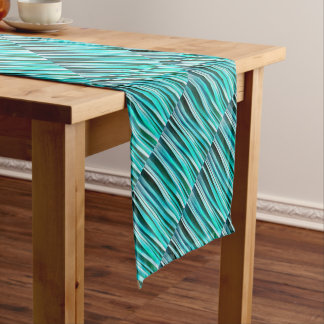 Turquoise and Cyan Ocean Stripy Lines Pattern Short Table Runner