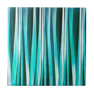 Turquoise and Cyan Ocean Stripy Lines Pattern Tile