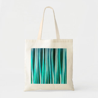 Turquoise and Cyan Ocean Stripy Lines Pattern Tote Bag