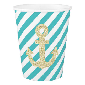 Turquoise and Gold Anchor Party Cups