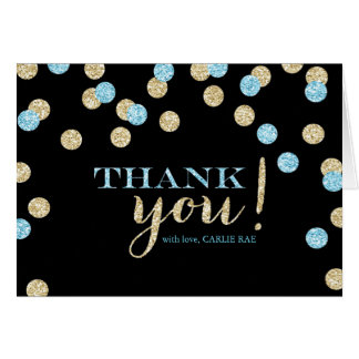 Turquoise and Gold Glitter Thank You Cards