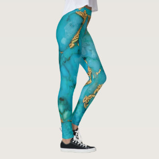 Turquoise and gold leggings