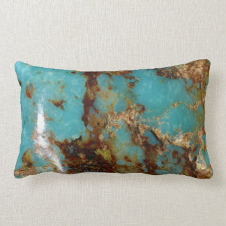 Turquoise and gold lumbar cushion