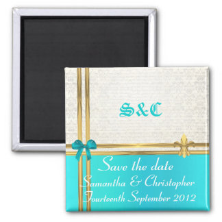 Turquoise and gold on damask save the date square magnet