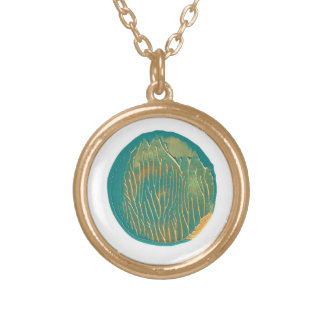 Turquoise and Gold Painted Moon Necklace