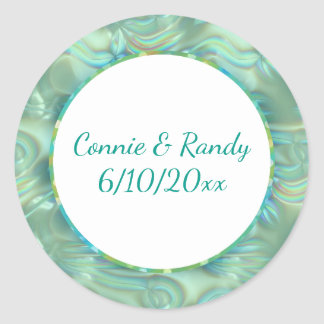 Turquoise and Gold Pattern Monogram Sticker Opal
