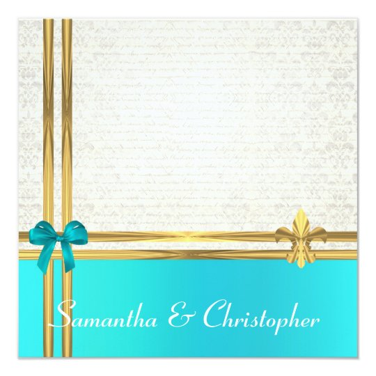 Turquoise  and gold ribbon with white  damask card
