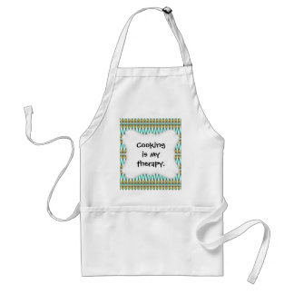 Turquoise and Gold Tribal Arrowhead Zigzags Design Standard Apron