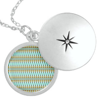 Turquoise and Gold Tribal Arrowhead Zigzags Design Round Locket Necklace