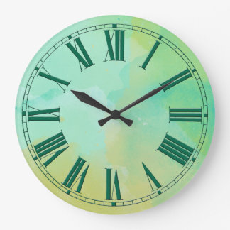 Turquoise and Gold Watercolor Effect Clocks