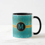 Turquoise and Gold Zebra Stripe Pattern