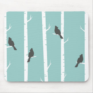 Turquoise and Gray Birds and Birch Trees Mouse Pad