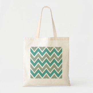 Turquoise and Gray Chevron Pattern Budget Tote Bag
