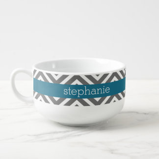 Turquoise and Gray Chevrons Custom Name Soup Mug