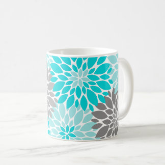Turquoise and Gray Chrysanthemums Floral Pattern Coffee Mug