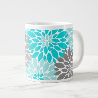 Turquoise and Gray Chrysanthemums Floral Pattern Large Coffee Mug