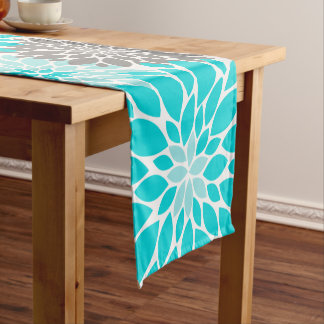 Turquoise and Gray Chrysanthemums Floral Pattern Short Table Runner